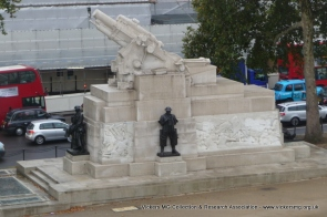 View of the Royal Artillery Memorial from the top of Wellington Arch